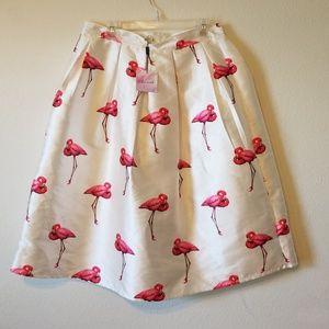 ChicWish White and Pink Full Skirt Flamingo Sz XL